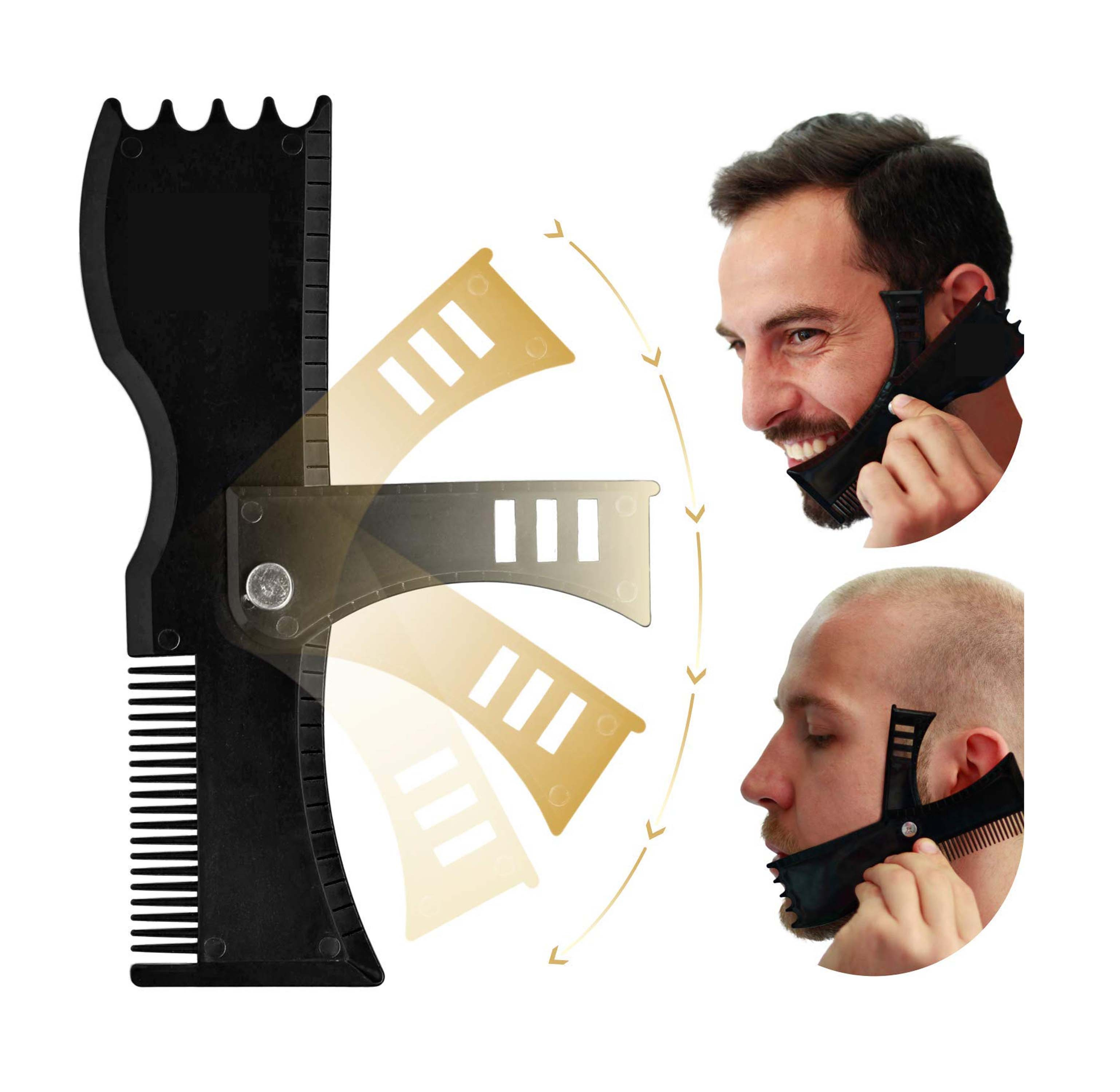 Portable Beard Comb New Rotating Beard Style Comb Adjusted To Different Angles Of Beard Style Comb Beard Style Ruler G0208