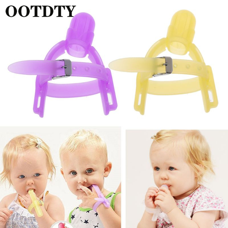 OOTDTY 2 Colors Nontoxic Silicone Baby Kids Child Finger Guard Stop Thumb Sucking Wrist Band Finger Cover