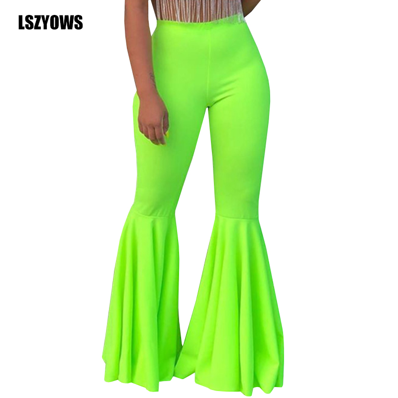 Plus Size Bell Bottom Pants 2019 Women High Waisted Vintage Ruffles Pants Wide Leg Female Trousers Solid Casaul Slim Flare Pants