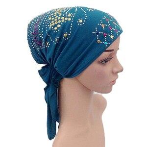 Image 5 - Muzułmanin pod szalikiem kości Bonnet kobiety wewnętrzna czapka Rhinestone hidżab Underscarf indyjski rak czepek dla osób po chemioterapii szal muzułmański utrata włosów kapelusz
