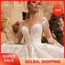 Ashley Carol Sexy V neck aplikacje suknia ślubna z tiulu 2020 Illusion bez pleców, długa rękaw księżniczka Boho Bride koronkowe suknie ślubne