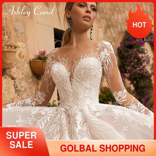 アシュリーキャロルセクシーな v ネックアップリケチュールウェディングドレス 2020 イリュージョン背中長袖プリンセス自由奔放に生きる花嫁レースのウェディングドレス