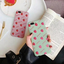 Tfshining Cute Cartoon Fruit Strawberry Painted Cases For iphone X XS XR Max 6 6S 7 8 Plus Soft TPU Matte Matcha Green Case