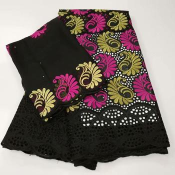 Swiss voile lace in switzerland 5+2 yards/set black african lace fabric 2020 high quality lace cotton fabrics for nigerian party