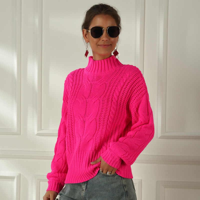 네온 스웨터 여성 니트 자홍색 핑크 솔리드 하프 터틀넥 풀오버 긴 캐주얼 루즈 니트 풀오버 여성 스웨터 점퍼
