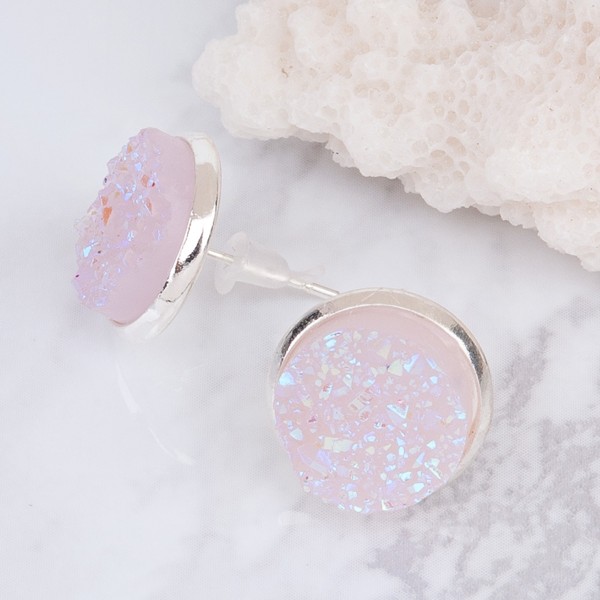 8Seasons Copper Post Stud Earrings Round Silver color Light Pink AB Color W/ Stoppers Fashion Jewelry 16mm x 14mm 2017 new