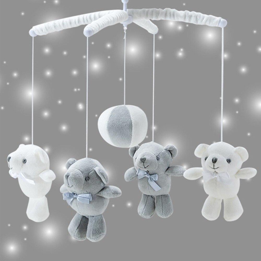 13Pcs Bear Baby Rattles Crib Mobile White Rattles Bracket Set 0-12M Baby Toys Remote Controll Clockwork Music Box Bed Bell Toy