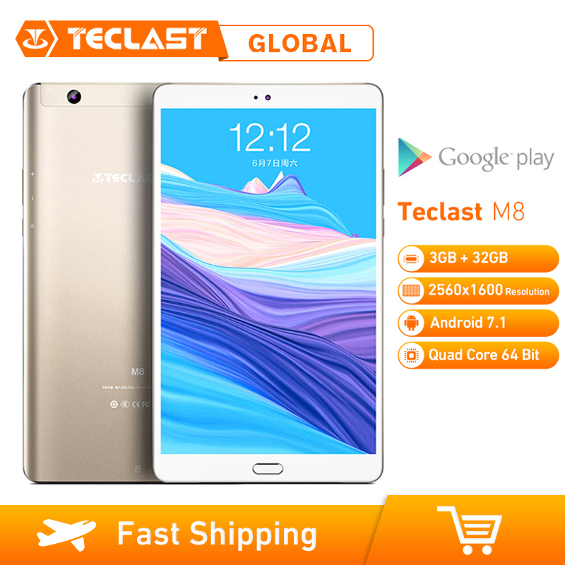 Teclast M8 8.4 Inch Tablet PC Android 7.1 2560 X 1600 Allwinner A63 Quad Core 3GB RAM 32GB ROM 2.0MP Dual Wifi GPS Dual Camera