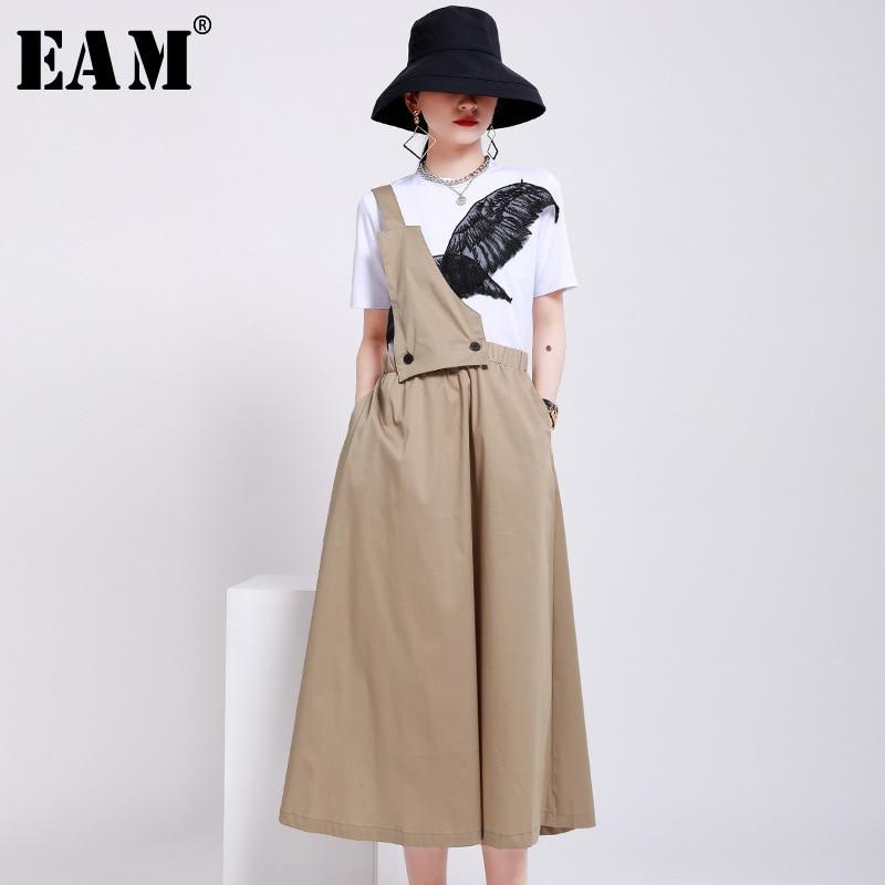 [EAM] High Waist Black Khaki Two Ways Wear Temperament Strap Half-body Skirt Women Fashion Tide New Spring Autumn 2020 1W742