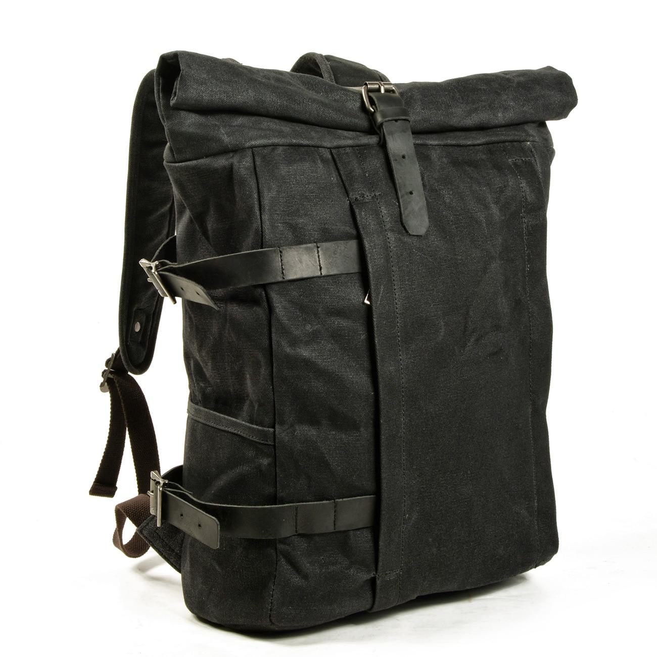Novo ao ar livre montanhismo mochila impermeável mochila de algodão cera de couro de costura da lona computador mochila mochila de estudante