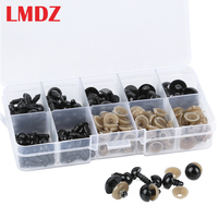 LMDZ-Ojos de DIY para muñecas para oso de peluche, Ojos de plástico negro de 6-12mm, 100 Uds.