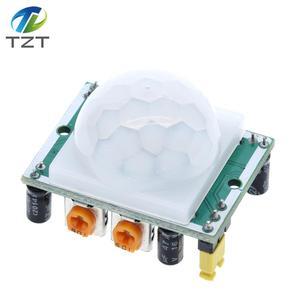 Image 1 - 100 pçs/lote HC SR501 ajustar ir piroelétrico infravermelho pir sensor de movimento detector módulo para arduino para raspberry pi kits