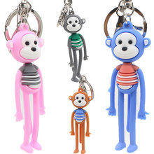 New PVC soft glue  yoga long leg monkey key chain bag pendant men and women couple ring gift #LS1907273
