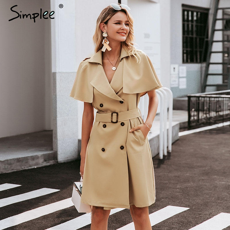 Simplee Solid Button Ruffled Sleeve Women Dress Elegant Sash Belt Office Ladies Trench Dress V-neck Shawl Party Dress Vestidos