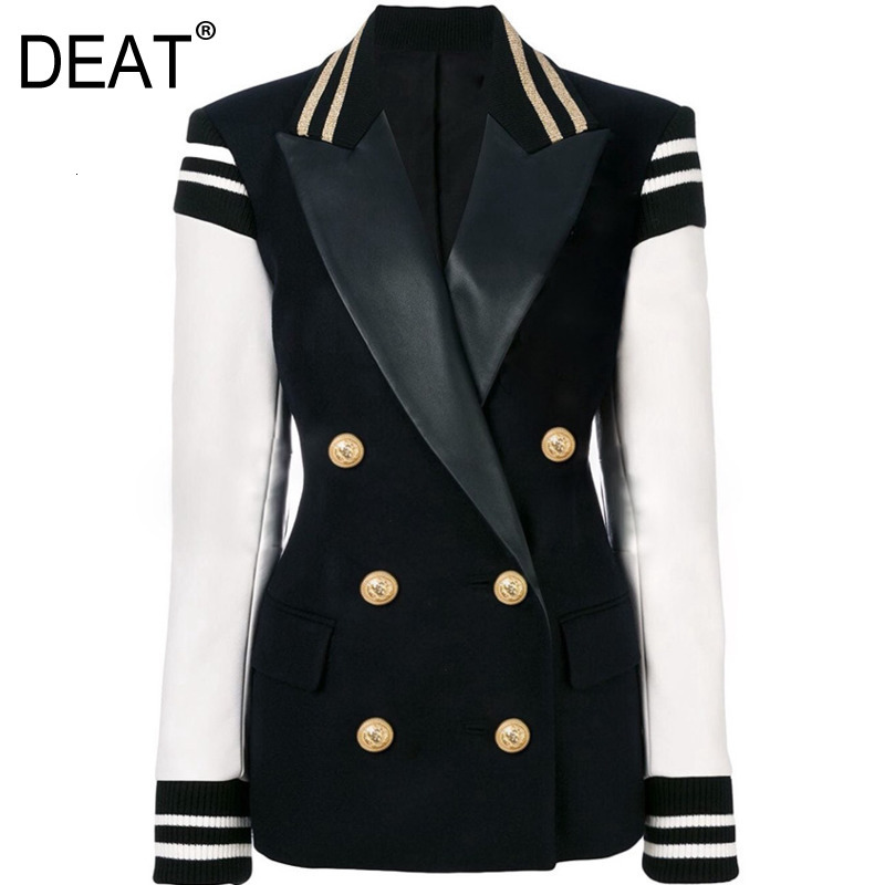 DEAT 2020 New Spring Fashion Women Clothes Woman Notched Collar Full Sleeves Double Breasted Single Blazer WK06401L