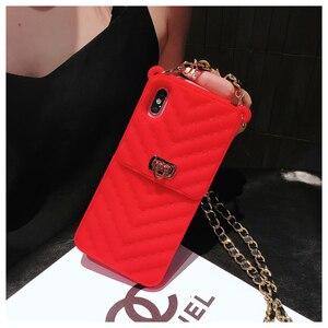 Image 4 - Crossbody carteira caso capa para iphone 11 12 pro xs max xr x 10 8 7 6s plus slot para cartão bolsa capa com alça de ombro longa corrente