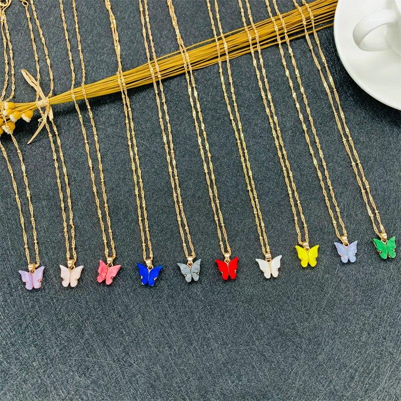 Милое ожерелье с подвеской бабочкой для женщин эффектное ожерелье для коктейвечерние корейский стиль Стильное ожерелье ювелирные изделия подарки|Ожерелья с подвеской| | АлиЭкспресс