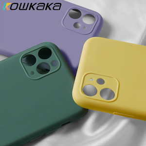Kowkaka Original Luxury Liquid Silicone Camera Protection Case For iPhone 11 Pro Max SE 2020 XS XR X 7 8 6 6s Plus Back Cover(China)