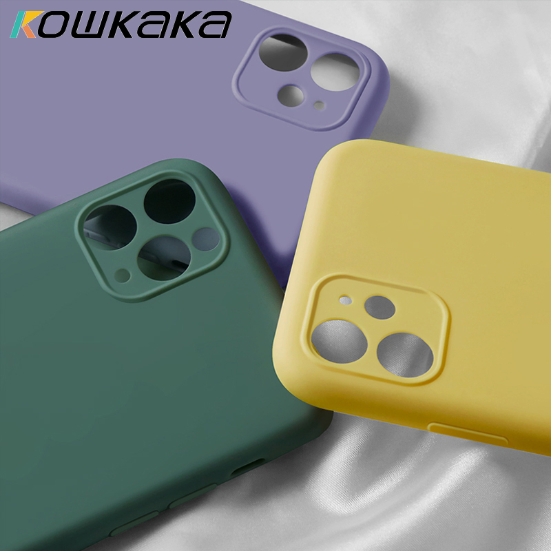Kowkaka Original Luxury Plain Silicone Camera Protection Phone Case For IPhone 11 Pro Max Soft Liquid Silicone Back Cover Couple
