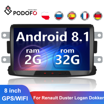 Podofo 2 Din Android 8.1 Car Radio GPS WIFI 2Din Car Multimedia Player Autoradio For Renault Sandero/Duster/Logan/Dokker image