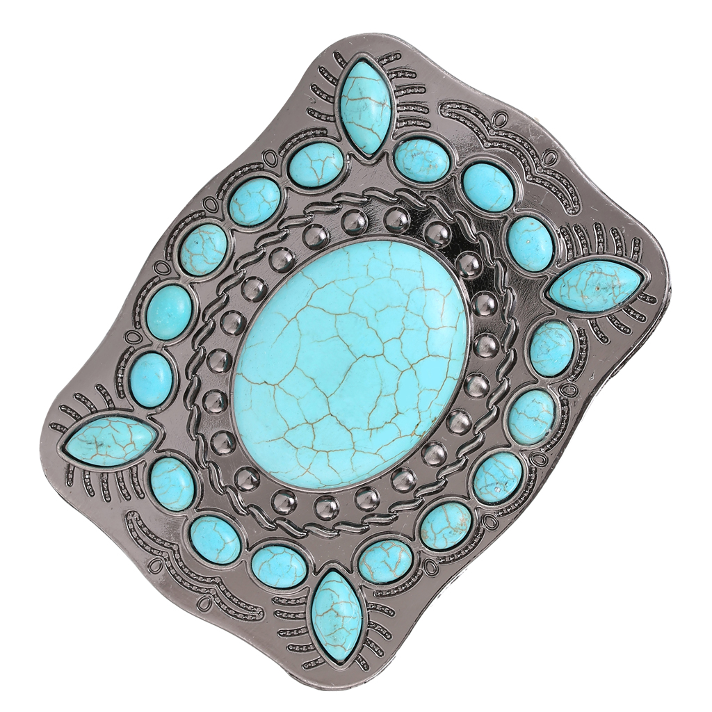 Mens Womens American Western Style Turquoise Stone Belt Buckle Cowgirl Cowboy Belt Buckle Blue Belt Accessories