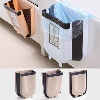 цена на Kitchen Hanging Trash Can Wall Mounted Folding Waste Bin Bathroom Kitchen Cabinet Door Hanging Trash Bin Portable Car trash can