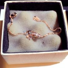 Женский браслет ручной работы, блестящий золотистый браслет с пряжкой из фианита AAA, с медным покрытием