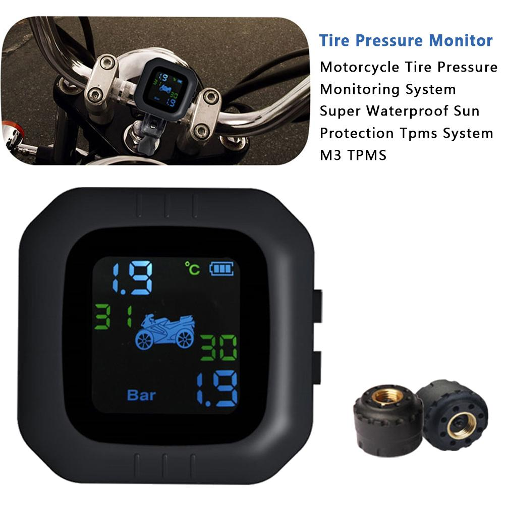 Motorcycle Tire Pressure Monitoring System TPMS Waterproof Real-time Monitoring Cordless High Precision Tire Pressure Alarm
