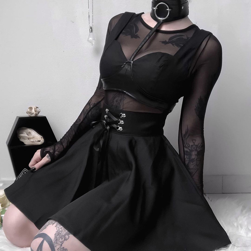 Goth Dark Vintage Gothic Skirts Women Harajuku Pleated Punk Grunge Autumn 2019 Bandage Rivot Female Skirt Fashion Black Fashion
