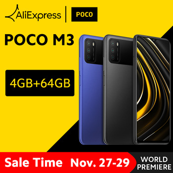 In Stock Global Version POCO M3 Smartphone Snapdragon 662 Octa Core 4GB RAM 64GB ROM 6000mAh Battery Mobile Phone 48MP Camera