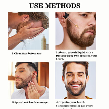 2Pcs Beard Growth Enhancer Thickener Beard Essential Oil for Men Beard Growth Anti Hair Loss Products Moustache Fast Grow Beard 6