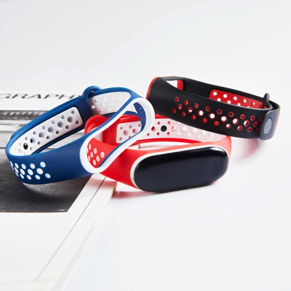 Doppel farbe Ersatz Silikon Atmungs Einstellbar Smart Armband Handgelenk Strap Band Zubehör für Xiao mi mi Band 3/4