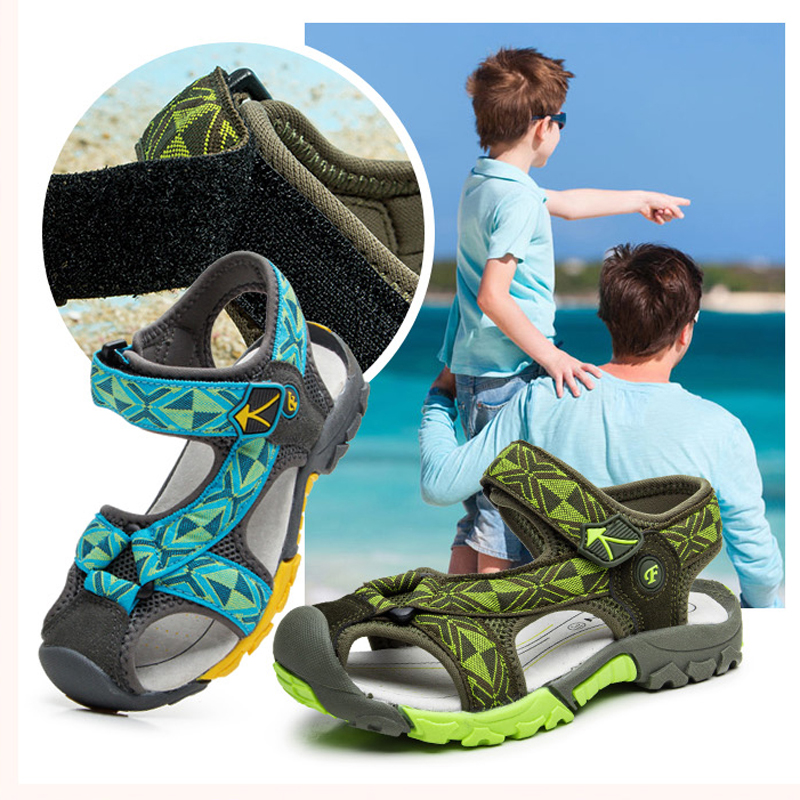 Boys Sandals Kid Shoes Summer Children Beach Shoes Sports Soft Non-slip Toddler Shoes Casual Cut-outs Baby Leather Rubber Sandal
