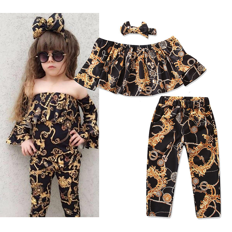 2Pcs Fashion Baby Girls Kids Children Clothing Sets Leopard Print Shoulder Top+Jeans Kid Child Girl Clothes Set Summer Boot Cu 1