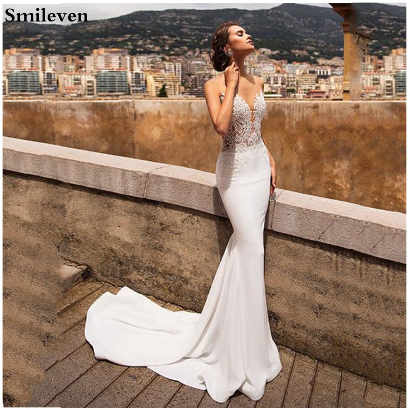 Smileven Sexy Beach Wedding Dress Mermaid Bridal Dresses Lace Appliqued Vestido De Noiva Lorie Boho Wedding Gowns