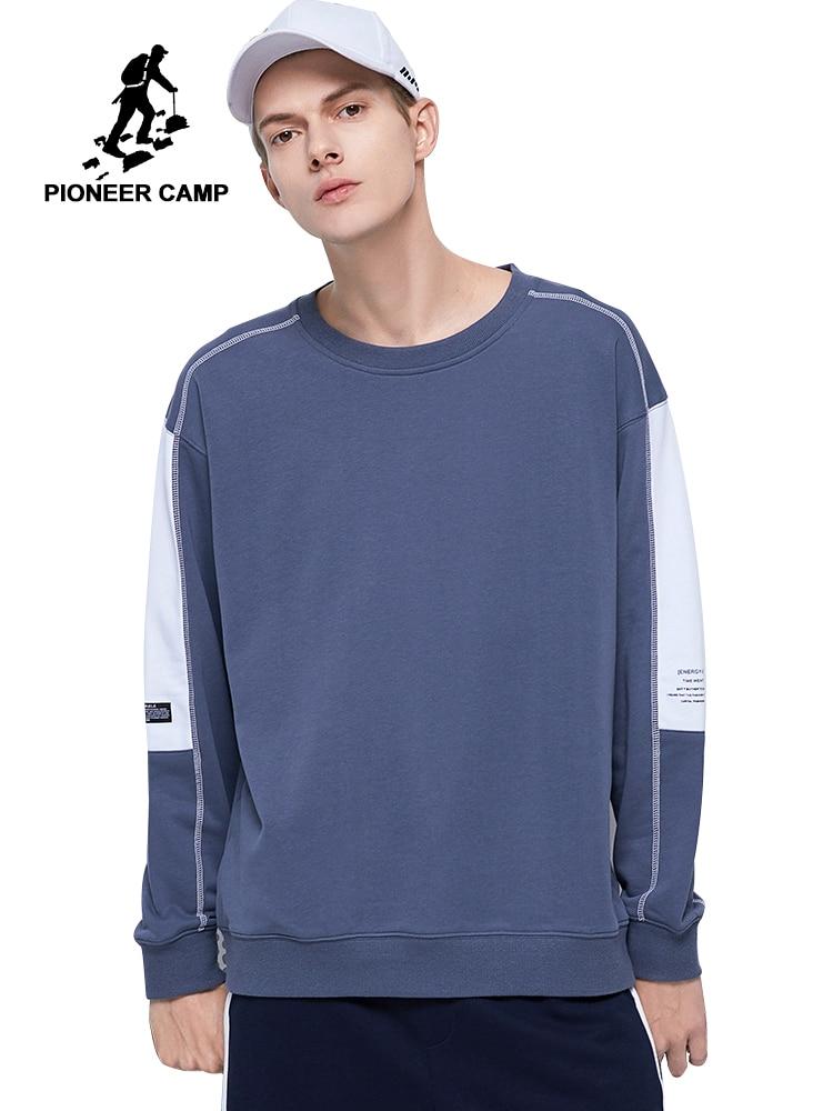 Pioneer Camp 2020 Hip Pop Men's Hoodies Sweatshirts Spring Cotton Streetwear Stitching Contrast Men' Pullover AWY0105122