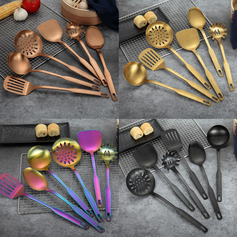 6pcs/set Kitchen Tools Stainless Steel Gold Rainbow Long Handle Soup Spoon Turner Spatula Cookware Cooking Tools