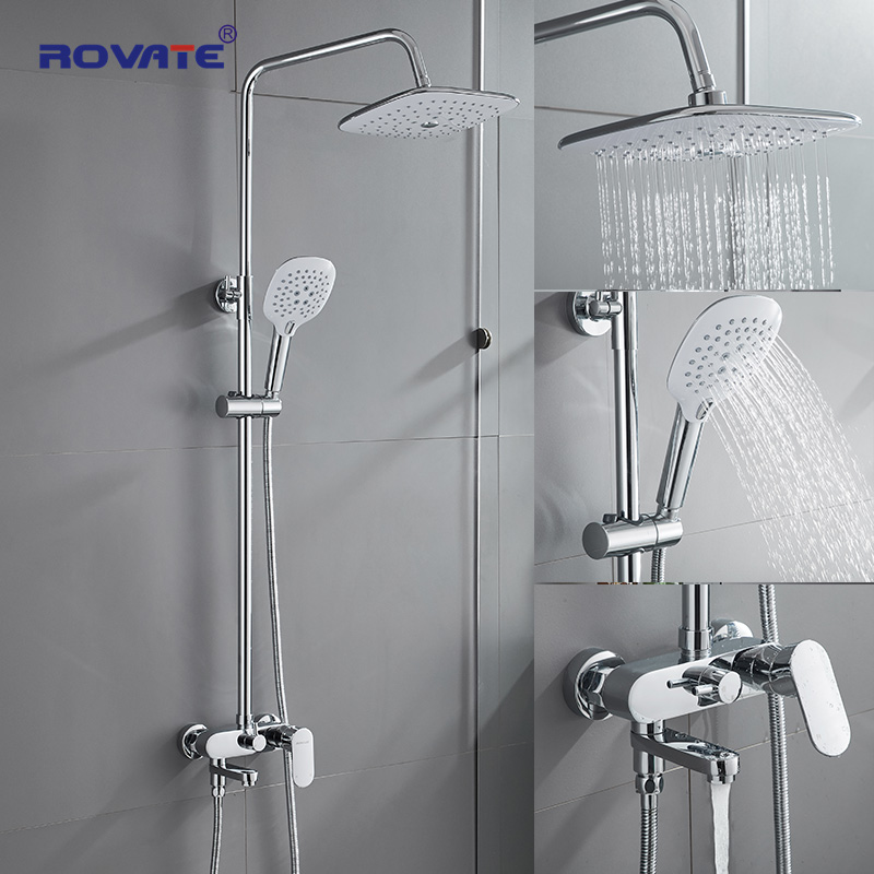 ROVATE Bathroom Shower Set With 230*255(mm) Rainfall Shower Head, Shower Faucet Set With Adjustable Slide Bar Wall Mounted