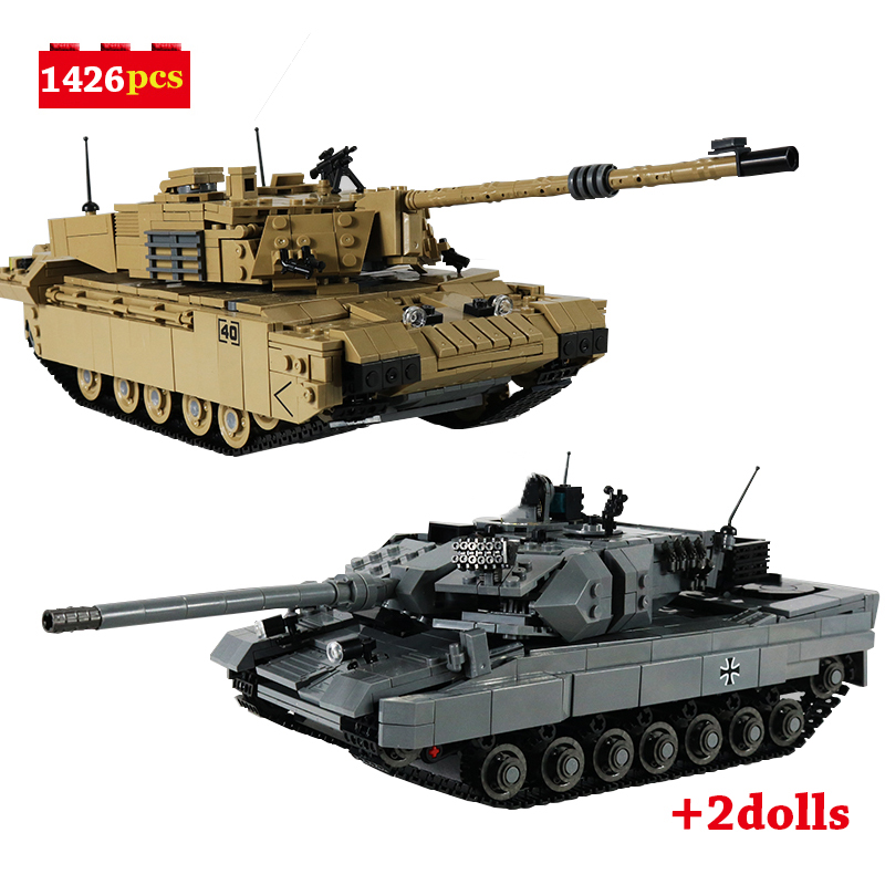Building Blocks 1426pcs Military Series WW2 Leopard II Main Battle Tank Challenger II Tank MOC Toys For Kids Gifts