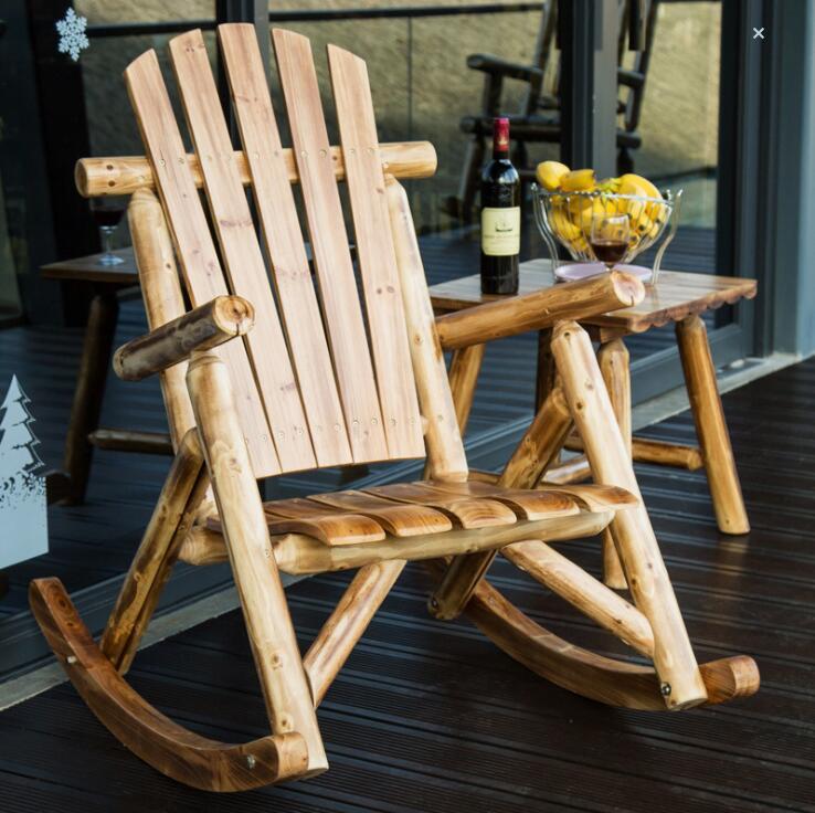 Уличная мебель деревянный стул качалка деревенский американский кантри стиль старинный взрослый большой сад рокер кресло рокер