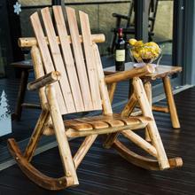 Muebles de exterior de madera mecedora rústica estilo country americano antiguo Vintage adultos gran jardín basculante sillón basculante