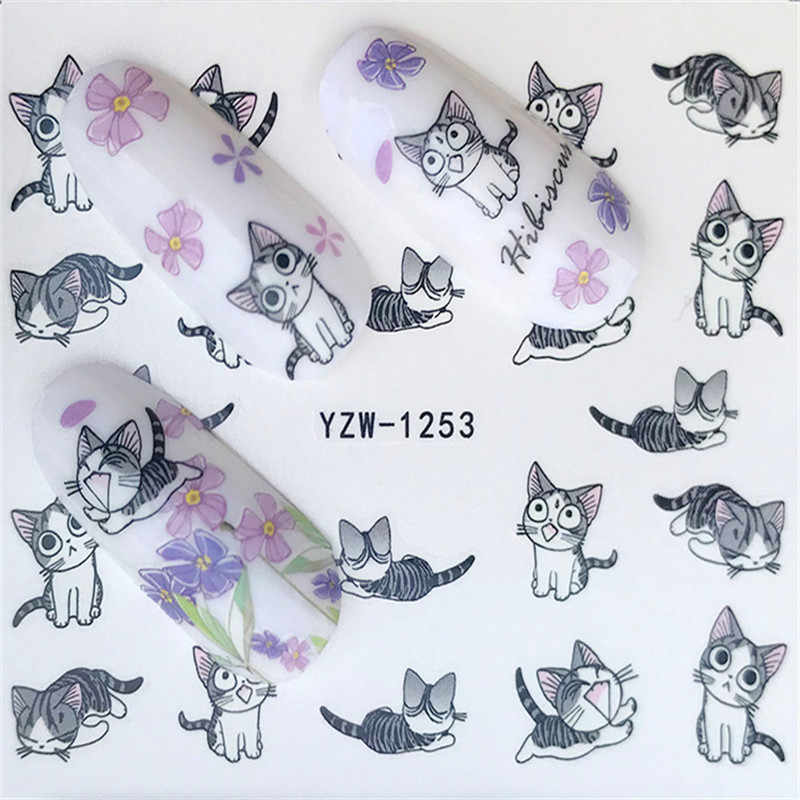 Water Transfer Nail Art Sticker En Sticker Ontwerpen Cartoon Kat Set Leuke Slider Tattoos Manicure