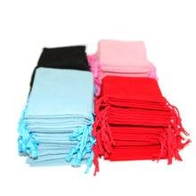 100個7 × 9センチメートルベルベット巾着/ジュエリークリスマス/ウェディングギフトバッグ黒赤、ピンク、青5色卸売