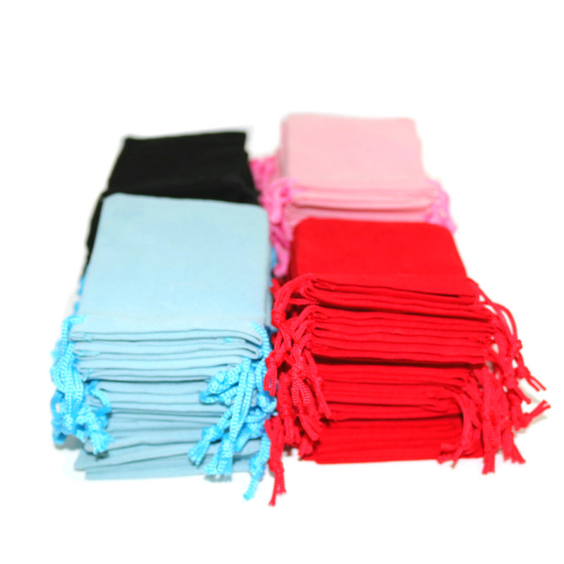 100pcs 7x9cm Velvet Drawstring  Bag/Jewelry Bag Christmas/Wedding Gift Bags Black Red Pink Blue 5 Color Wholesale