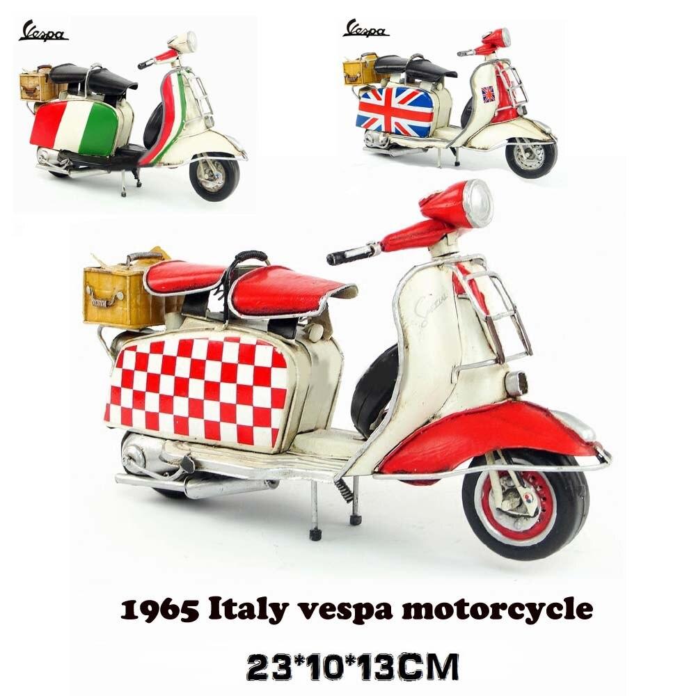 Vespa мини металлический мотоцикл модель ручной работы зеленый красный цвет итальянский флаг винтажная мотоциклетная игрушка два колеса литая металлическая модель мотоцикла