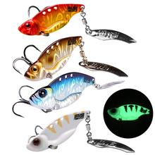 2pcs 4g 7g 11g Metal Sequins Fishing Spinner Spoon VIB Hard Bait Treble Hook Perch Laser Vib Vibration Lure With