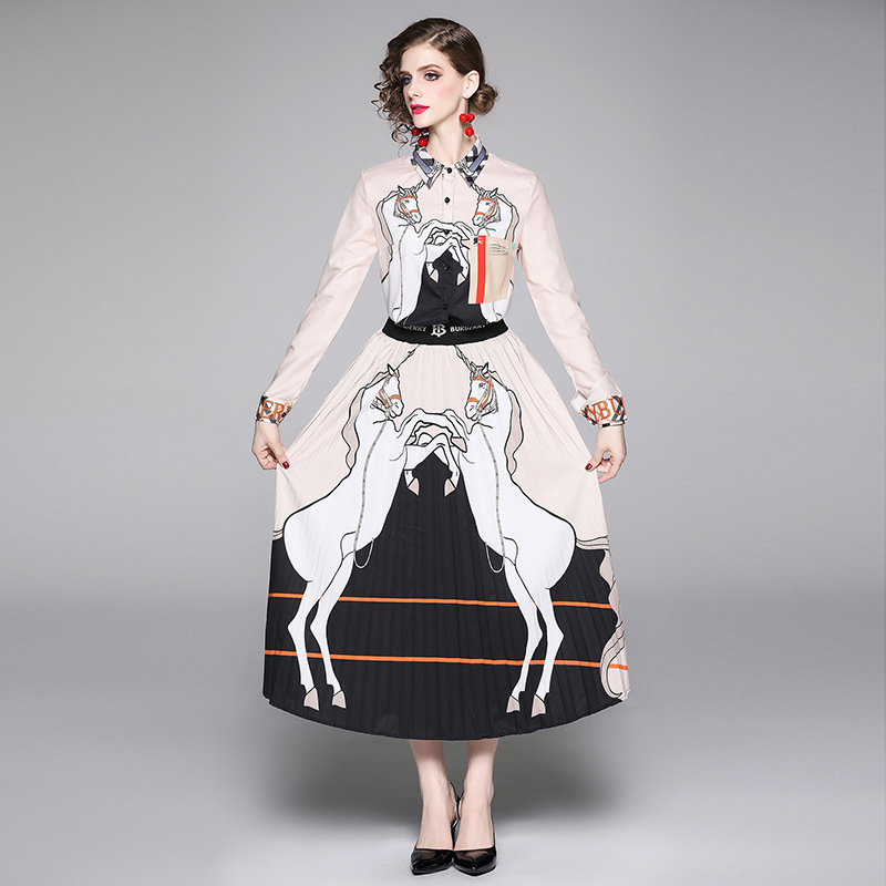 Europe And America 2019 Autumn New Style Fashion Cartoon Printed Shirt + Pleated Skirt Set Two-Piece Set