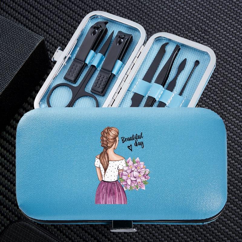 menina engracada 7 pcs conjuntos de tosquiadeira unhas manicure portatil viagem aco inoxidavel aparador clippers cortador