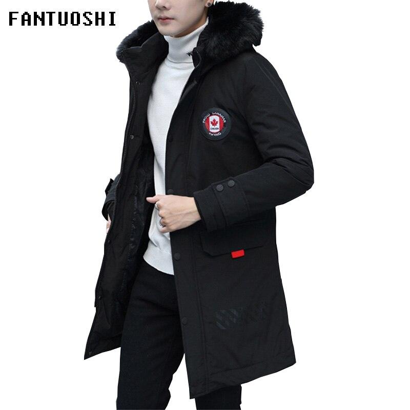High Quality Men Fashion Parkas Winter Male Warm Thick Parka Coats Long Men's Casual Jacket Hooded Parkas Black Plus Size 4XL