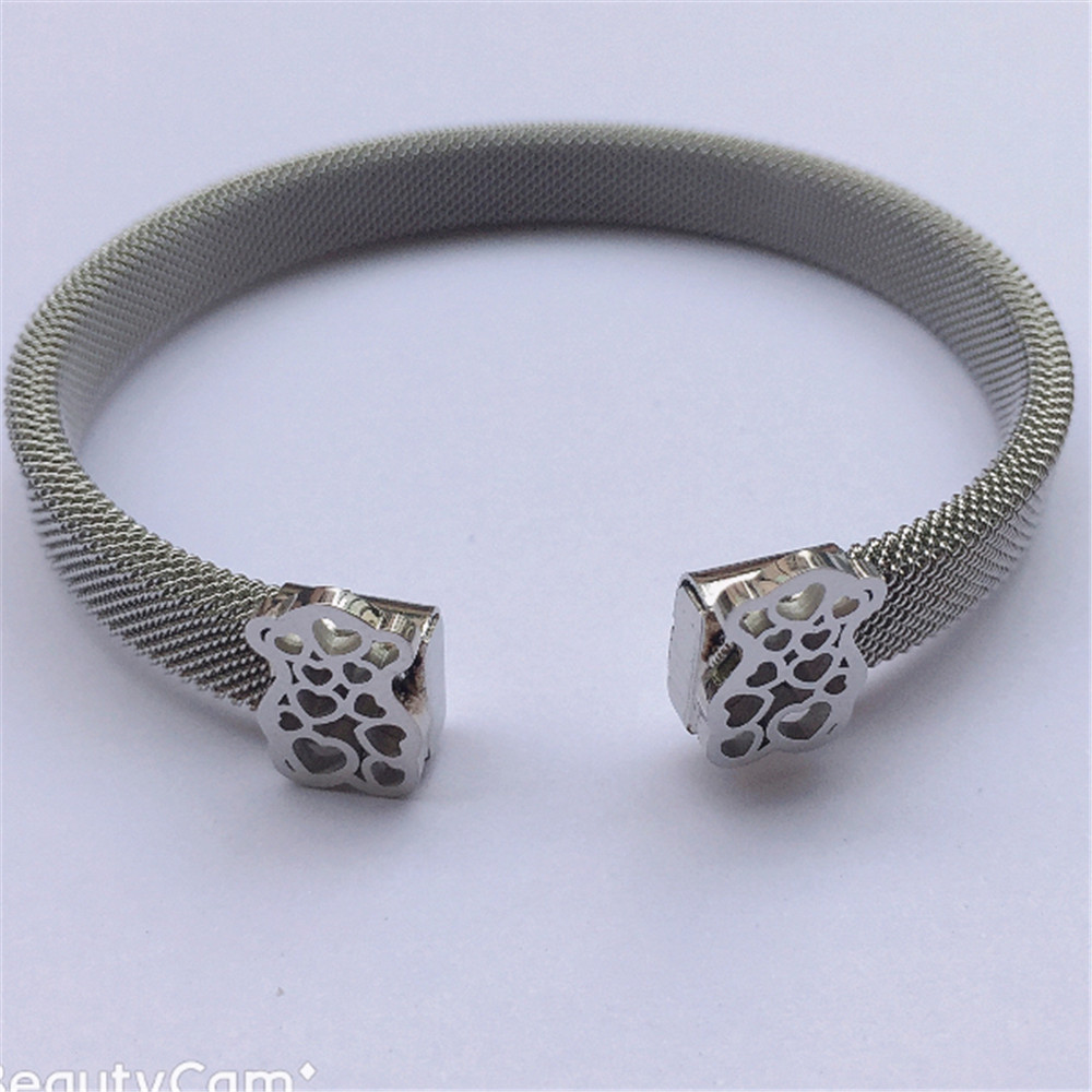 bear Bangle bracelet Mesh Bracelet Stainless Steel bangle jewelry as best gift free ship